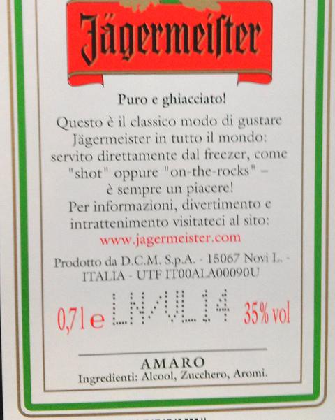 Amaro Jagermeister, aromi chimici.
